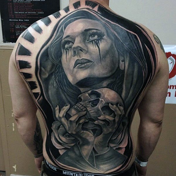 Guys Full Back Lady With Bloody Tears And Skull Tattoo