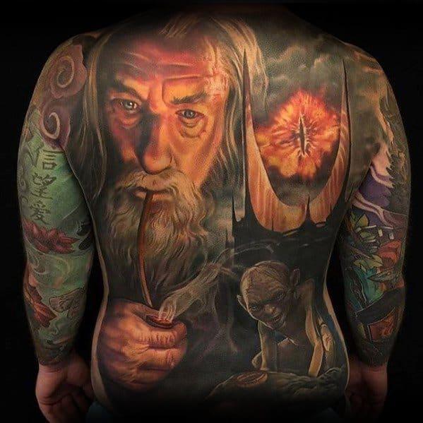 Guys Full Back Lotr Htemed Eye Of Sauron Tattoo Deisgns
