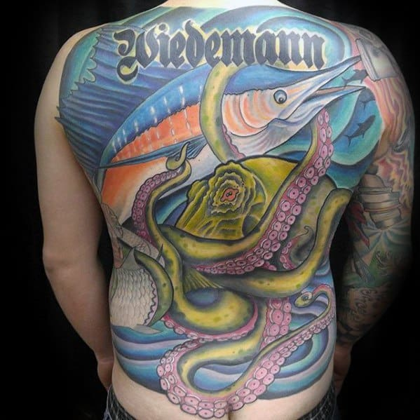 Guys Full Back Octopus With Marlin Fish Tattoo Deisgns