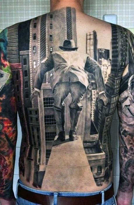 Guys Full Back Realistic Tattoo Of Man Jumping From Skyscraper