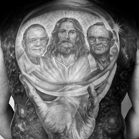 Guys Full Back Realistic Tattoos With Crystal Ball With Jesus Portrait Design