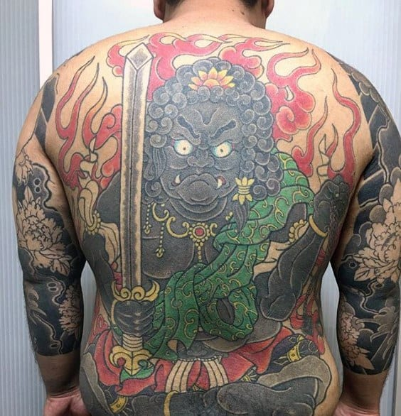 Guys Full Back Tattoo Ideas Fudo Myoo Designs