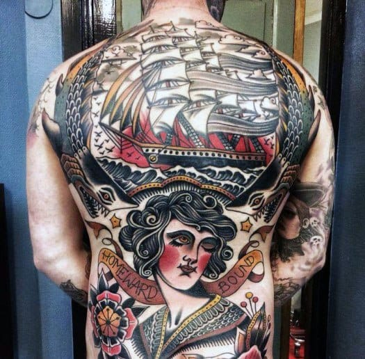 Guys Full Back Tattoos With Vintage Design