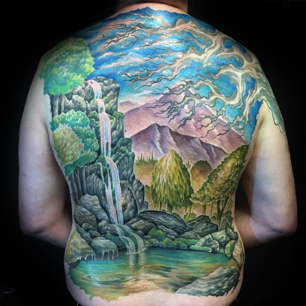 Guys Full Back Waterfall Tattoos