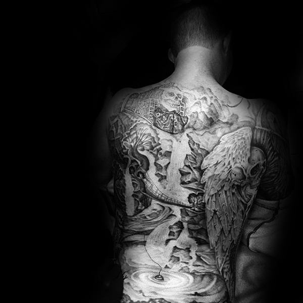 Guys Full Back Waterfall With Fisherman Skeleton Tattoo