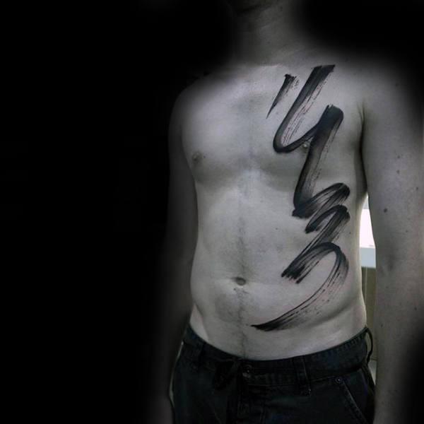 Guys Full Chest Brush Stroke Tattoo Ideas
