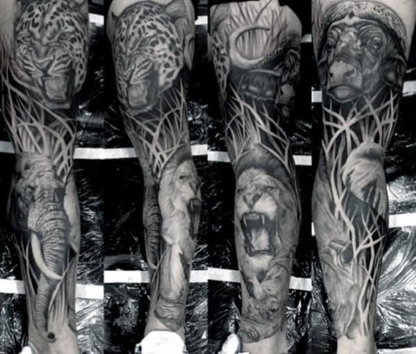 Guys Full Leg Sleeve Safari Lion Tattoo Design