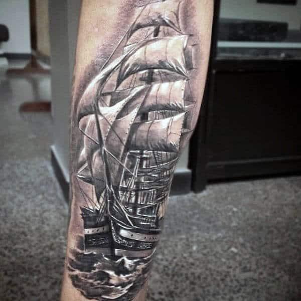Guys Full Sail Tattoo On Men Wth White Ink