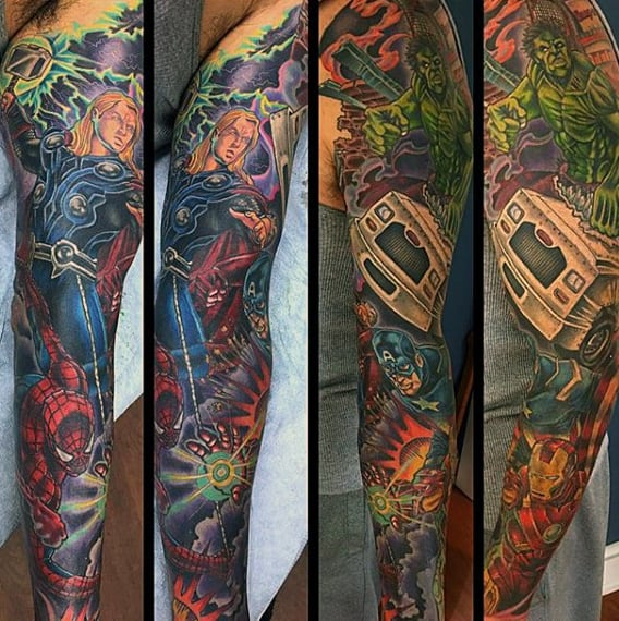 Guys Full Sleeve Amazing Hulk Tattoo