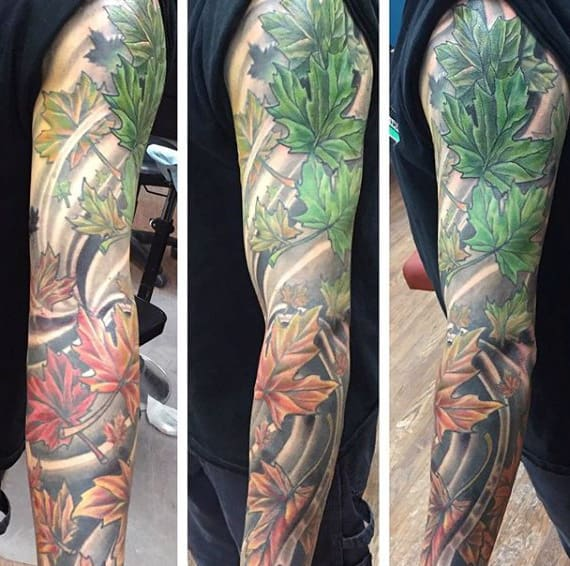 Guys Full Sleeve Fall Maple Leaf Tattoo Design Ideas
