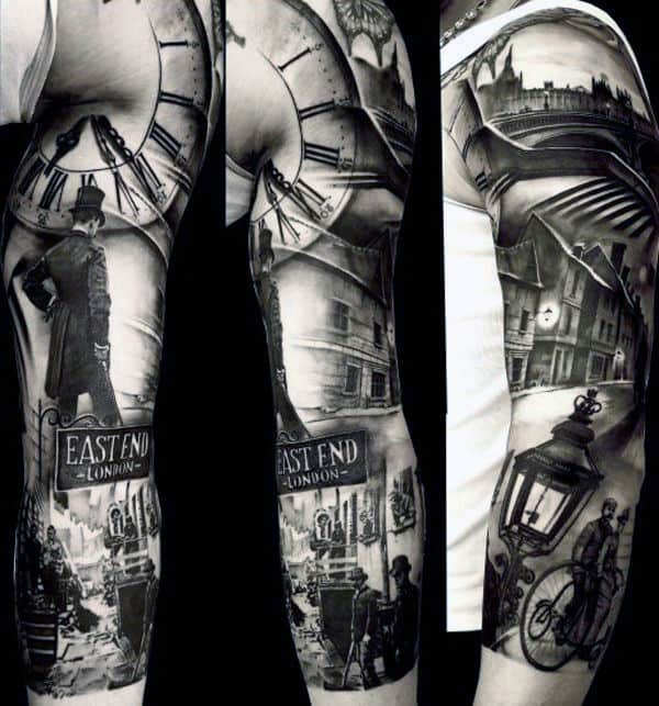 Guys Full Sleeve Grey Busy Street In London Realistic Tattoo
