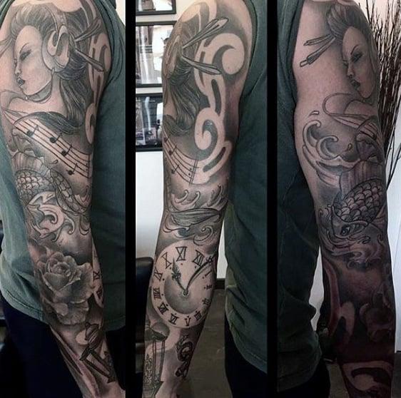 Guys Full Sleeve Music Note Tattoo Design Inspiration