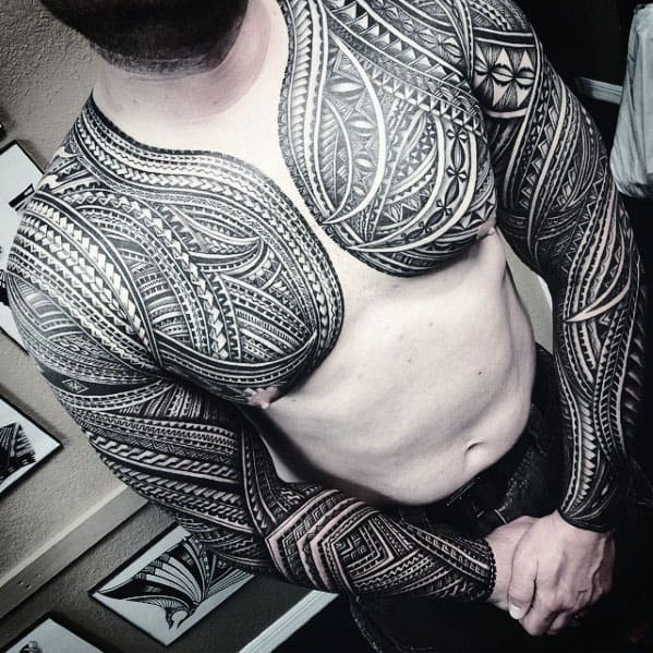 Guys Full Sleeve Ornate Pattern Tribal Polynesian Tattoos