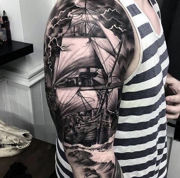 Guys Full Sleeve Realistic Tattoo Of Ship With Majestic White Sails