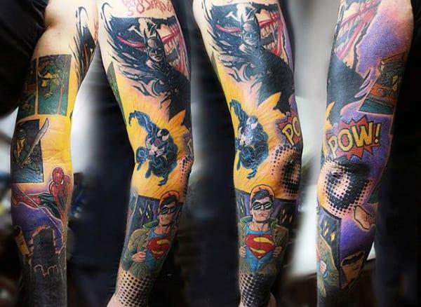 Guys Full Sleeve Spiderman Tattoo