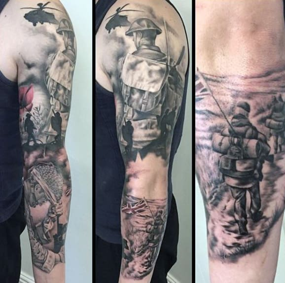 Guys Full Sleeve Ww2 Themed Tattoo Designs