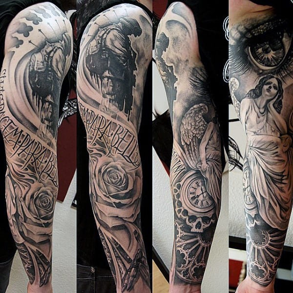 Guys Full Sleeved Cool Clock And Lady Tattoo