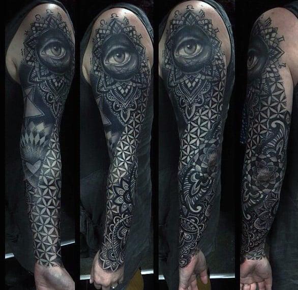 Guys Full Sleeved Grayish Black Tattoo Of Eye