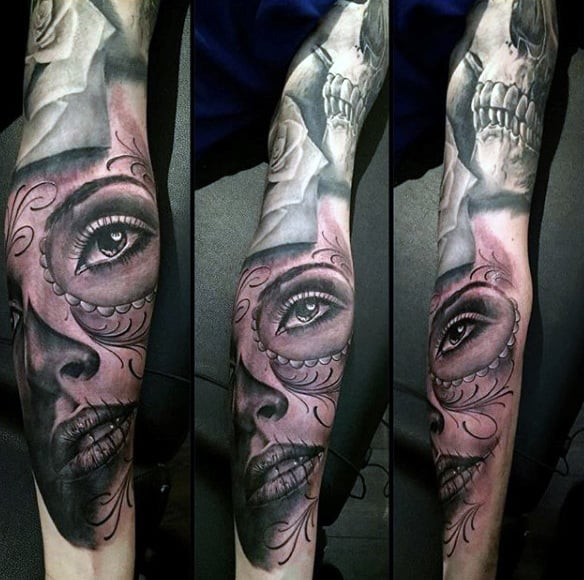 Guys Full Sleeved Pretty Eyed Day Of The Dead Woman Tattoo