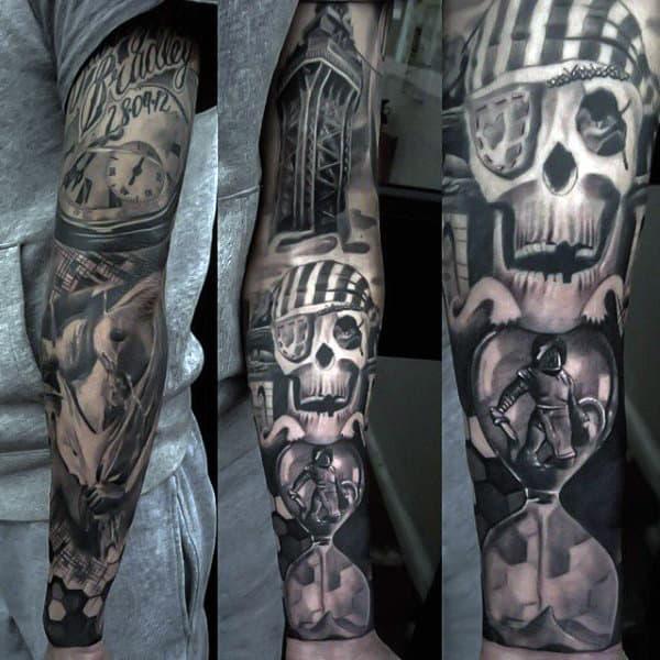 Guys Full Sleeves Amazing Grey Manly Tattoo