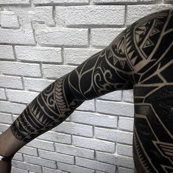 Guys Full Sleeves Black And White Sick Tattoo