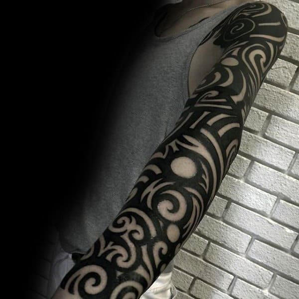 Guys Full Sleeves Black Sick Tattoo