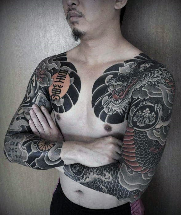 Guys Full Sleeves Cool Chinese Dragon Tattoo