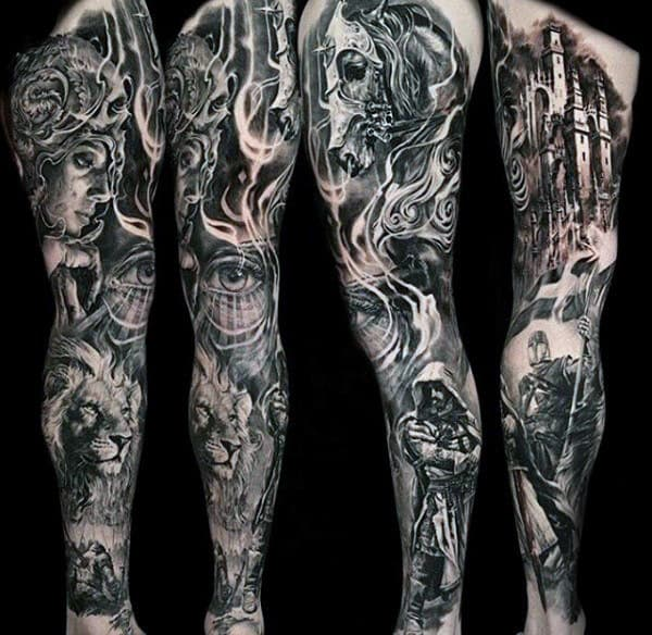 Guys Full Sleeves Fantastic Black And Grey Tattoo