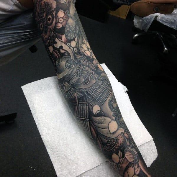 Guys Full Sleeves Fantastic Warrior Tattoo Design Ideas