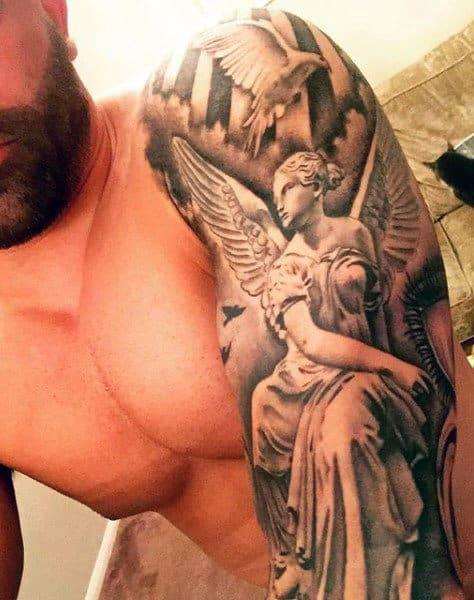 Guys Full Sleeves Guardian Angel And Flying Bird Tattoo