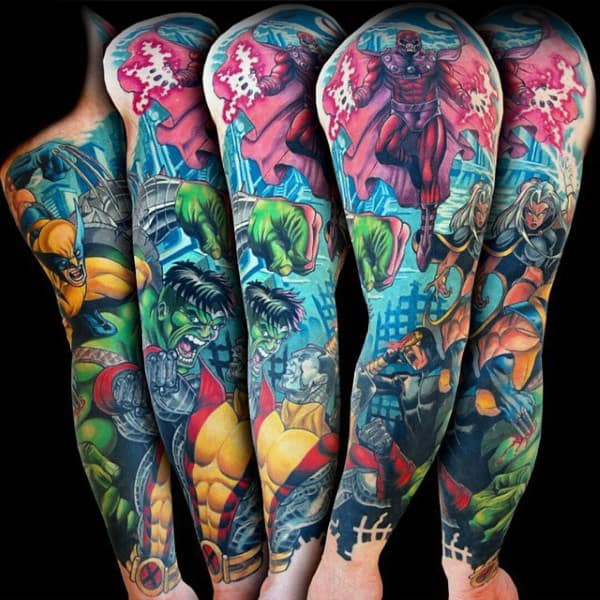 Guys Full Sleeves Hulk Tattoo
