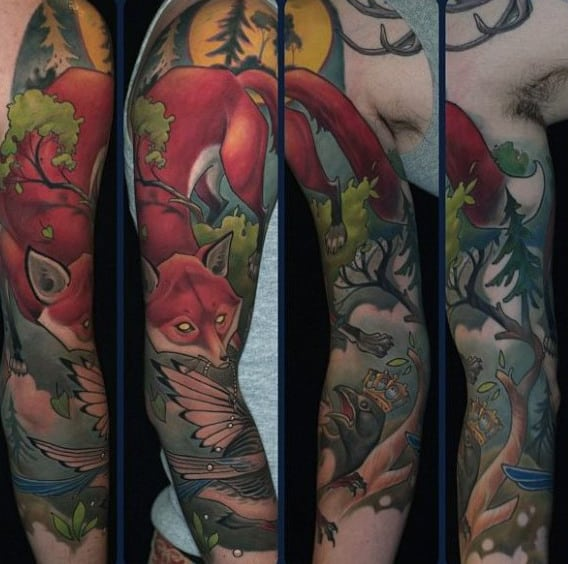 Guys Full Sleeves Incredible Fox Tattoo