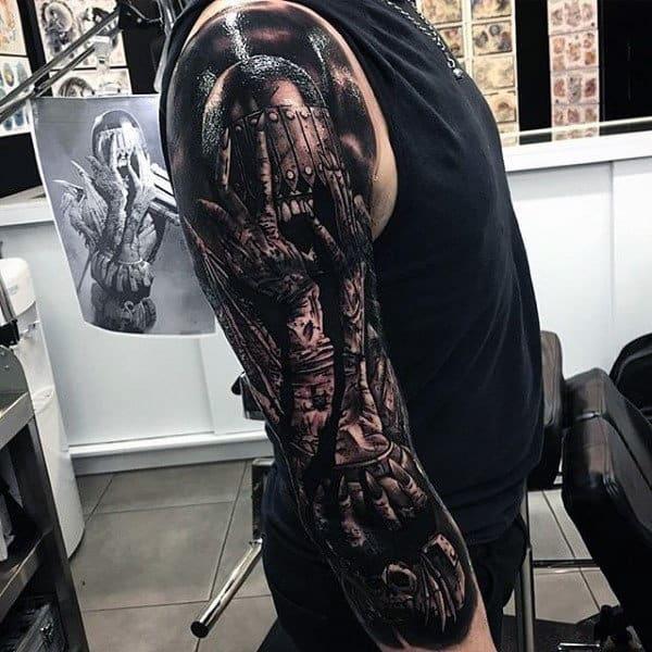 Guys Full Sleeves Interesting Grey Tattoo