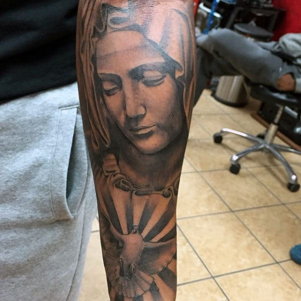 Guys Full Sleeves Praying Mother Religious Tattoo