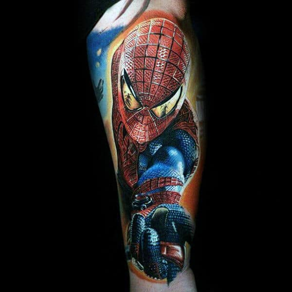 Guys Full Sleeves Realistic Spiderman Tattoo