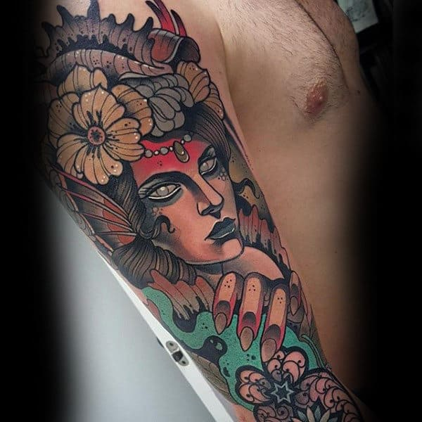 Guys Full Sleeves Sick Lady With Flower Tattoo