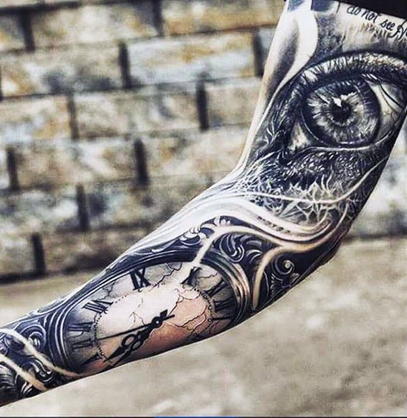 Guys Fulls Sleeves Grey Eyes And Ancient Timepiece Tattoo