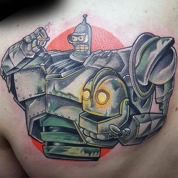 Guys Futurama Bender Robot Tattoo On Upper Back Of Shoulder