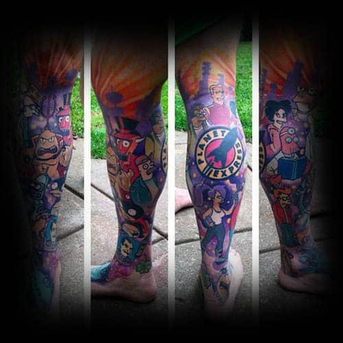 Guys Futurama Leg Sleeve Themed Tattoo Design Ideas