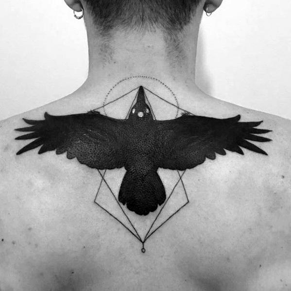 Guys Game Of Thrones Tattoo Three Eyed Bird On Upper Back