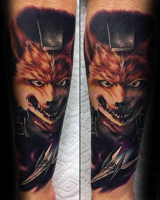 Guys Gamer Forearm Fox Tattoo Design Idea Inspiration