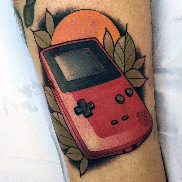 Guys Gamer Gameboy Neo Traditional Arm Tattoos Ideas