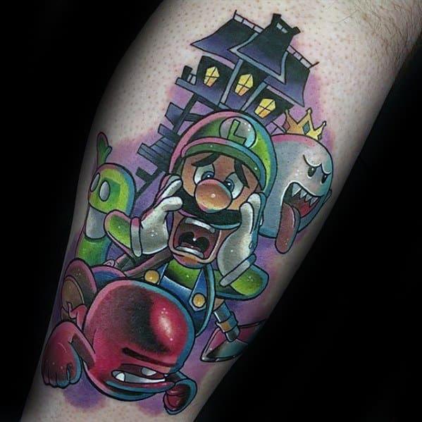 Guys Gamer Tattoo Super Mario Leg Design Ideas