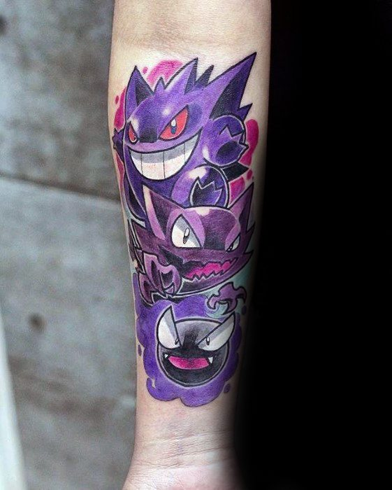 Guys Gengar Pokemon Inner Forearm Tattoos