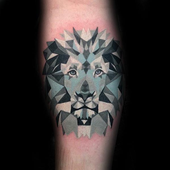 Guys Geometric Animal Tattoo Designs