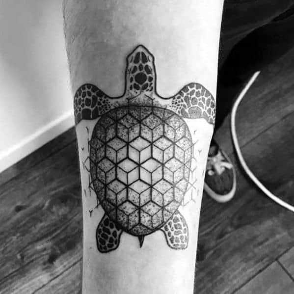 Guys Geometric Animal Turtle Tattoos