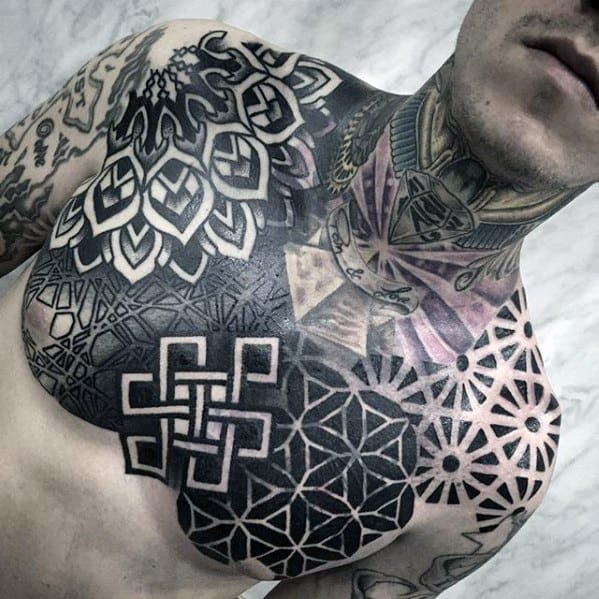 Guys Geometric Chest Tattoo