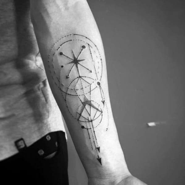 Guys Geometric Compass Tattoo Design Ideas