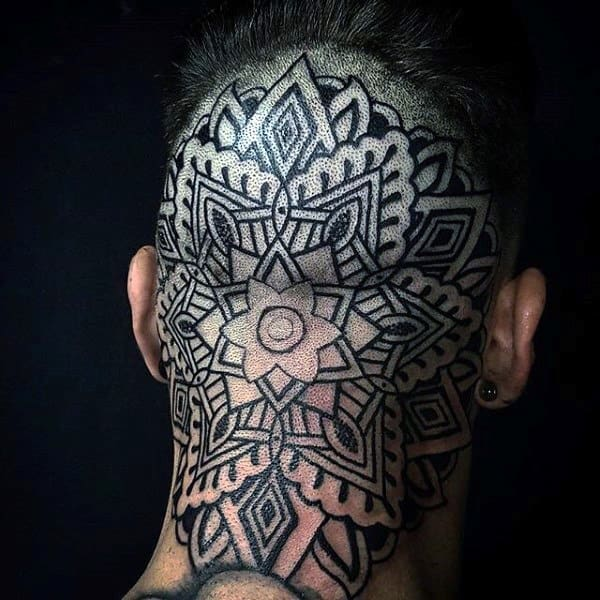 Guys Geometric Flower Pattern Back Of Head Tattoo Design Inspiration