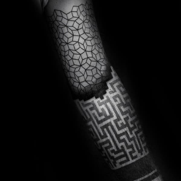 Guys Geometric Forearm Tattoo Deisgns